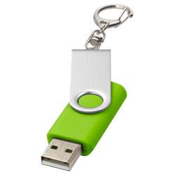 Rotační USB s klíčenkou světle zelená